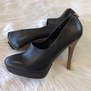 Zara Collection Black Leather Platform Heels 40